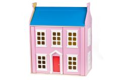 Rosa Puppenhaus mit Möbel, Holz