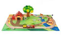 Holz Auto & Eisenbahn 45 Stück Spielzeug Bauernhof Thema